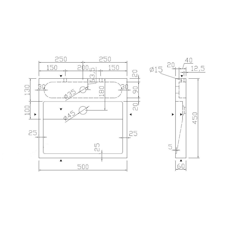 best design limestone opbouw kraan midden 50x45x6cm