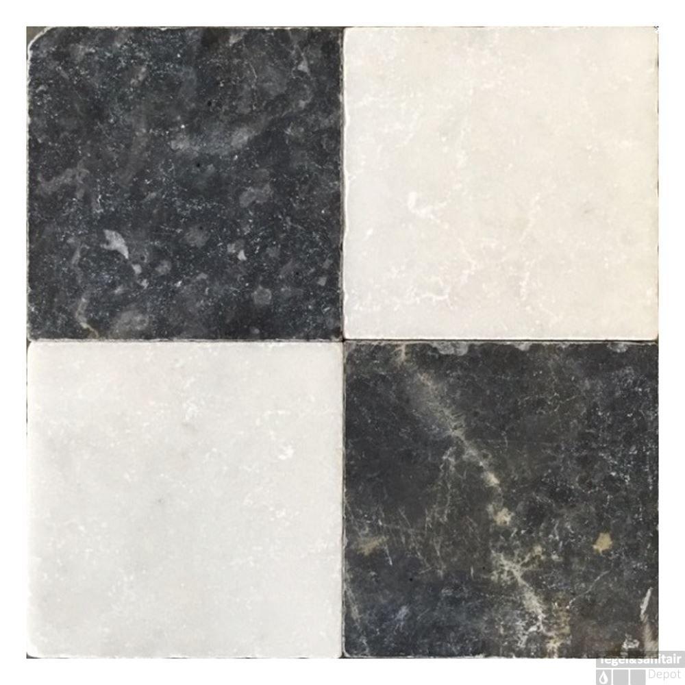Natuursteen Tegels Binnen.Natuursteen Tegels Dambord Vloer Wit Marmer En Turks Hardsteen