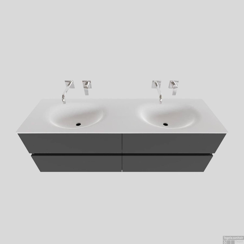 Badkamermeubel Solid Surface BWS Stockholm 150x46 cm Dubbel Mat Antraciet 4 Laden zonder kraangaten
