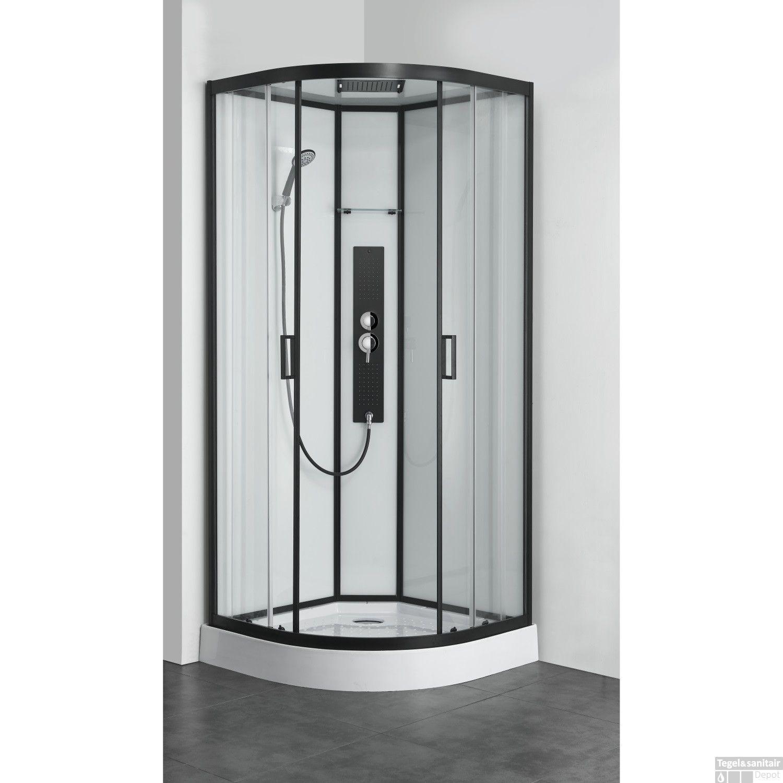 Douchecabine Mat Glas.Douchecabine Allibert Uyuni 225x90x90 Cm Kwartrond Mat Zwart Schuifdeuren 4mm Helder Glas