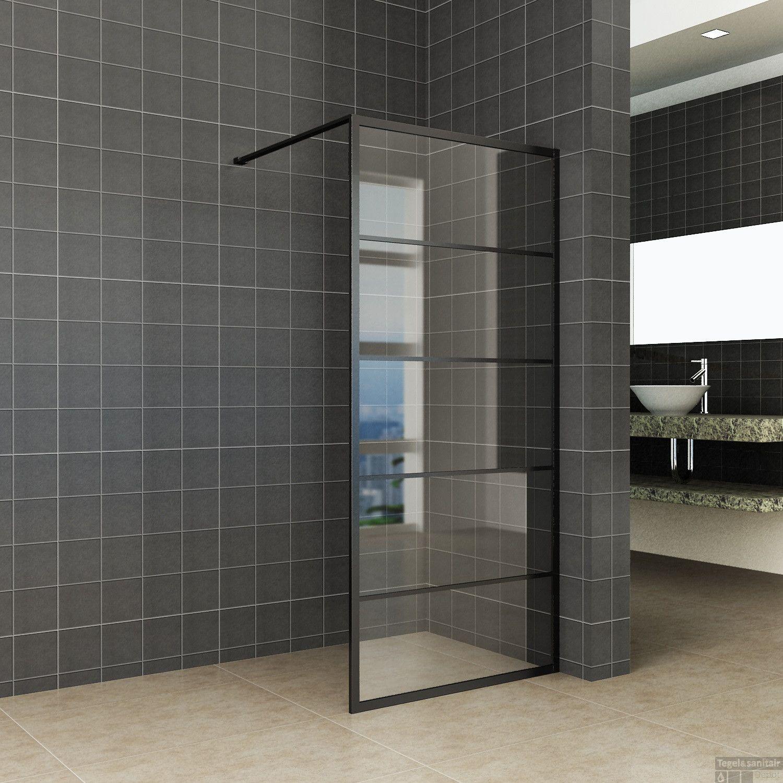 Glas Voor Inloopdouche.Inloopdouche Horizon 100x200 Cm Inclusief Mat Zwart Raster En Nano Glas