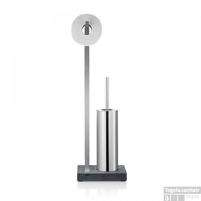Wc Borstel En Toiletrolhouder.Toiletrolhouder En Borstel Blomus Menoto Design Geborsteld Rvs Mat