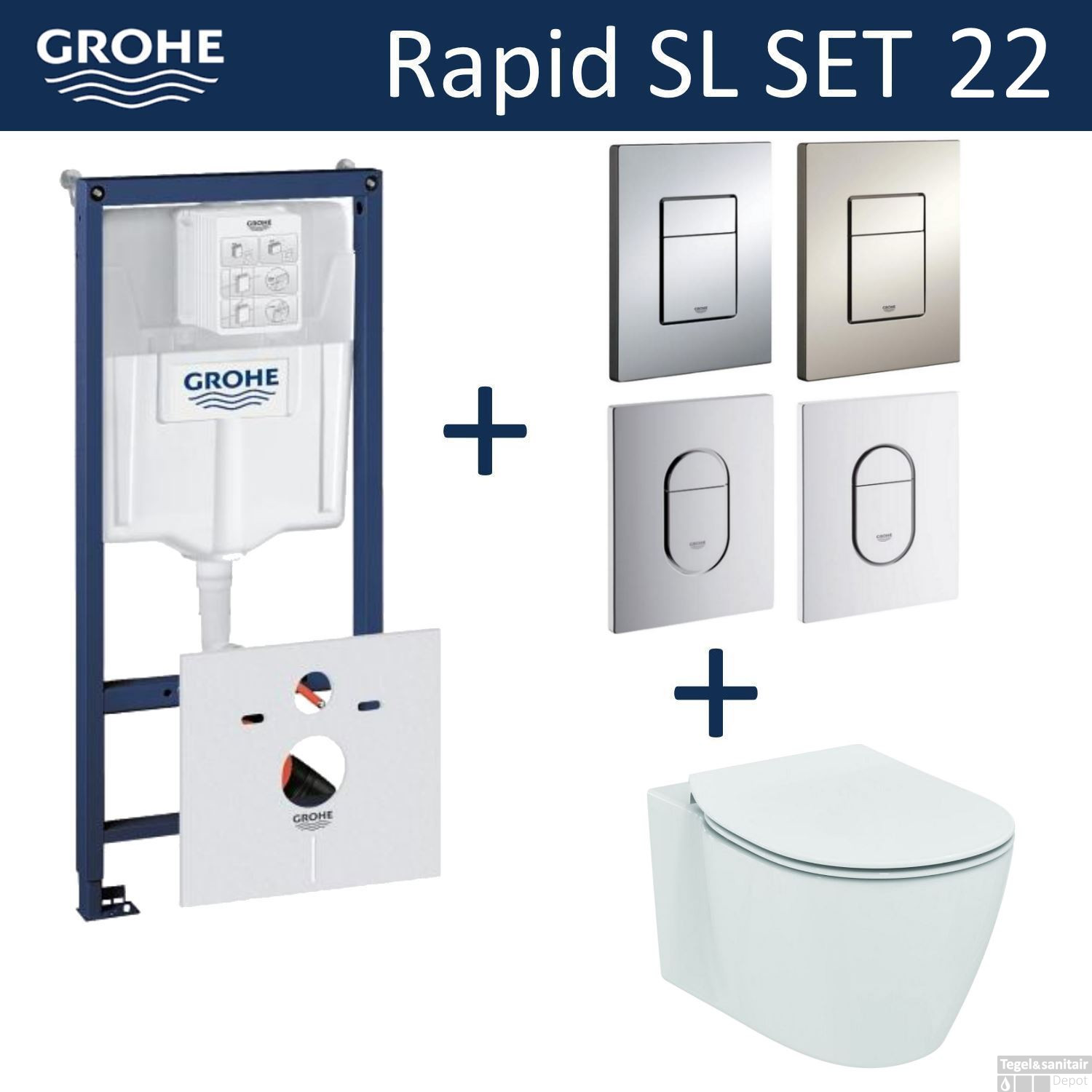 grohe rapid sl toiletset set22 ideal standard connect aquablade met grohe arena of skate drukplaat. Black Bedroom Furniture Sets. Home Design Ideas