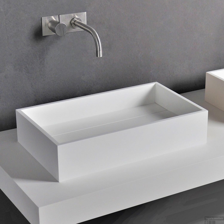 Rvs Wasbak Opbouw.Opbouw Waskom Ideavit Solidpure 50x30x11 Cm Solid Surface Mat Wit