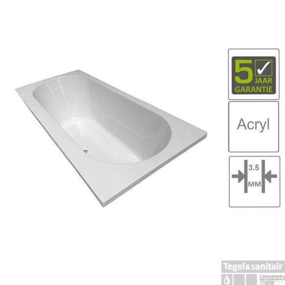 BWS Inbouw Duo Ligbad Portus Acryl 180x80x50 cm Wit