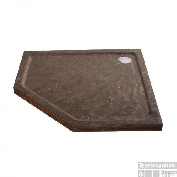 Douchebak Natuursteen Sanilux Jory 90x90x40cm Vijfhoek Zwart/bruin Radius 55cm