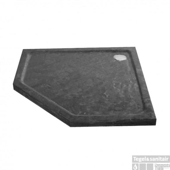 Douchebak Natuursteen Sanilux Jory 90x90x4cm Vijfhoek Zwart/bruin Radius 55cm