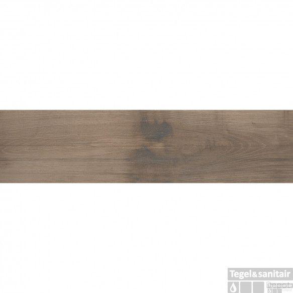 Vloertegel Alaplana Dundee 25x100 cm Mocca Mate (doosinhoud 1.25 m2)