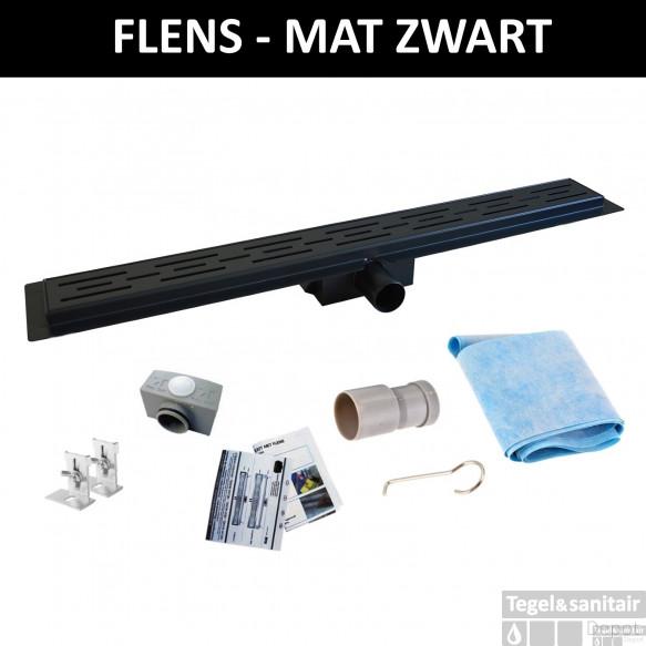 Mat Zwart RVS Douchegoot Flens met Uitneembaar Sifon MAT ZWART (alle maten)