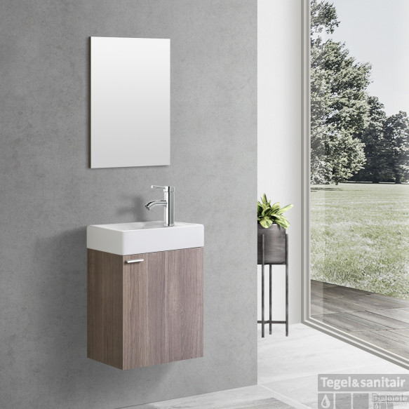 Fonteinkast Creavit Aloni Kleur Oak Onderkast Wastafel En Met Spiegel 40x22x60 cm