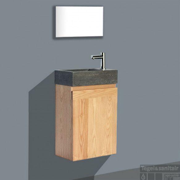 Fonteinkast Sanilux Wood Natuursteen Softclose Rechts draaiend 41x23x70cm Kraangat Rechts