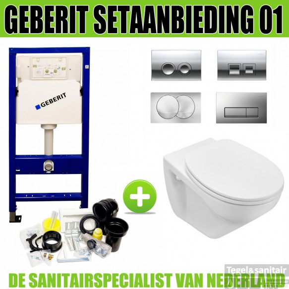 Geberit UP100 Toiletset set01 Design Met Delta Drukplaat