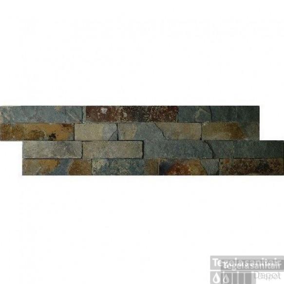 Wandtegel Schiste Flatface Stonepanel Rusty Slate 15x60x2/3 cm (p/Stuk)