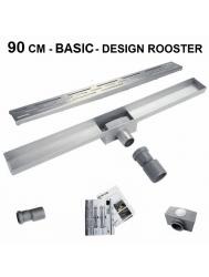 RVS Douchegoot Basic met uitneembaar sifon 90 cm breed 6,7cm diep DESIGN ROOSTER (Douchegoten)