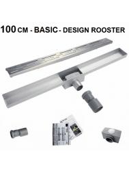 RVS Douchegoot Basic met uitneembaar sifon 100 cm breed 6,7cm diep DESIGN ROOSTER
