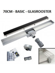 RVS Douchegoot Basic met uitneembaar sifon 70 cm breed 6,7cm diep GLAS ROOSTER