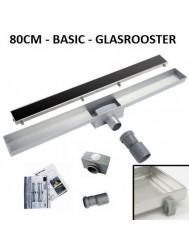 RVS Douchegoot Basic met uitneembaar sifon 80 cm breed 6,7cm diep GLAS ROOSTER