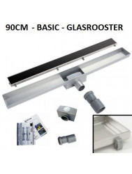 RVS Douchegoot Basic met uitneembaar sifon 90 cm breed 6,7cm diep GLAS ROOSTER