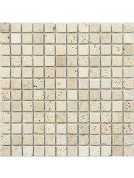 Mozaiek tegels Classic travertin / Apulia ivory (beige) anticato 2,3x2,3x1cm (prijs per matje 30x30cm)