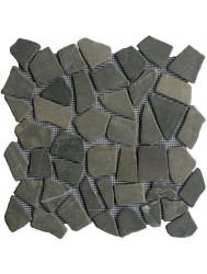 Mozaiek tegels Grey marmer scherven getrommeld mixed maten (prijs per matje 30x30cm)