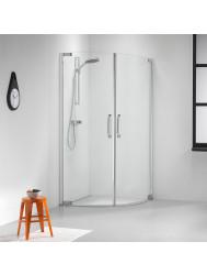 Douchecabine Get Wet by Sealskin Impact 90x90cm 1/4 rond Swingdeuren Chroom/zilver Helder glas
