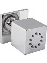 Zijdouche voor hydromassage met 1 richtbare waterstraal. Bevat een antikalksysteem, terugslagklep en doorstroombegrenzer: 5 l/m. Materiaal: messing.