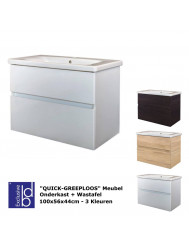 Badkamermeubel Best Design Quick-Greeploos 100x56x44cm Onderkast + Wastafel (3 kleuren)