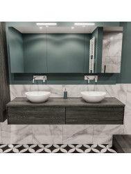 Badkamermeubel BWS Madrid Washed Oak 180 cm met Massief Topblad en Keramische Waskom Dubbel (0 kraangaten, 2 lades)
