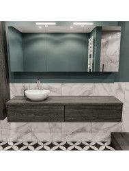Badkamermeubel BWS Madrid Washed Oak 180 cm met Massief Topblad en Keramische Waskom Links (1 kraangat, 2 lades)