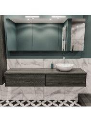 Badkamermeubel BWS Madrid Washed Oak 180 cm met Massief Topblad en Keramische Waskom Rechts (1 kraangat, 2 lades)