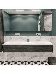 Badkamermeubel BWS Madrid Washed Oak 180x45x30 cm Mat Witte Solid Surface Wastafel Dubbel (0 kraangaten, 2 lades)