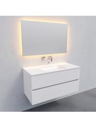 Badkamermeubel Solid Surface BWS Oslo 100x46 cm Midden Mat Wit (zonder kraangaten)