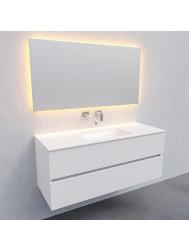 Badkamermeubel Solid Surface BWS Oslo 120x46 cm Midden Mat Wit (zonder kraangaten)