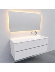 Badkamermeubel Solid Surface BWS Oslo 120x46 cm Rechts Mat Wit (zonder kraangaten)