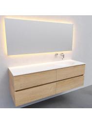 Badkamermeubel Solid Surface BWS Stockholm 150x46 cm Rechts Wood Washed Oak 4 Laden (0 kraangaten)