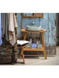 Badkamermeubelset Cipi Zen Consolle XL 71 cm Hout Zwart (inclusief spiegel en opbouw waskom)