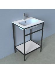 Badkamermeubelset Industrieel BWS Frame Staand 60 Mat Zwart Aluminium (exclusief spiegel)