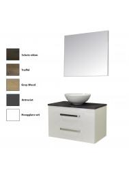 Badkamermeubelset Sanicare Q11 2 Laden Inclusief Wastafelblad Grey- of Black-Stone 80cm (alle kleuren, spiegel optioneel)