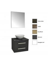 Badkamermeubelset Sanicare Q11 2 Laden Inclusief Wastafelblad Grey- of Black-Stone 65cm (alle kleuren, spiegel optioneel)