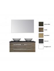 Badkamermeubelset Sanicare Q12 2 Laden en Black- of Grey-Stone Wastafelblad (alle kleuren, spiegel optioneel)
