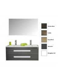 Badkamermeubelset Sanicare Q2 Twee Soft-Close Laden Inliggende Alu Greep 120 cm (alle kleuren, spiegel optioneel)