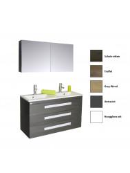 Badkamermeubelset Sanicare Q2 Drie Soft-Close Laden Inliggende Alu Greep 120 cm (alle kleuren, spiegel optioneel)