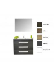 Badkamermeubelset Sanicare Q3 3 Soft-Close Laden Alu Greep 90 cm (alle kleuren, spiegel optioneel)
