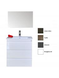 Badkamermeubelset Sanicare Q7 Drie Soft-Close Laden Greeploos 65 cm (alle kleuren, spiegel optioneel)