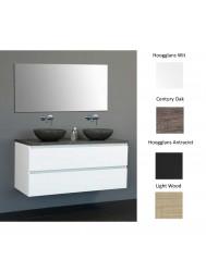 Badkamermeubelset Sanilux Trend Dynasty 120x47x50 cm met Twee Waskommen (leverbaar in 4 kleuren)