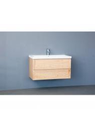 Badkamermeubelset Sanilux Wood Keramiek 100x47x50 cm Eikenhout (inclusief 1 of 2 kraangaten)