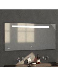 Badkamerspiegel met LED Verlichting Sanitop Clock 135x70 cm met Digitale Klok en Sensor
