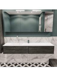 Badkamermeubel BWS Madrid Washed Oak 180x45x30 cm Mat Witte Solid Surface Wastafel Links (1 kraangat, 2 lades)