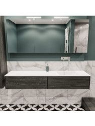 Badkamermeubel BWS Madrid Washed Oak 180x45x30 cm Mat Witte Solid Surface Wastafel Rechts (0 kraangaten, 2 lades)