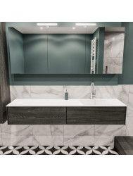 Badkamermeubel BWS Madrid Washed Oak 180x45x30 cm Mat Witte Solid Surface Wastafel Rechts (1 kraangat, 2 lades)
